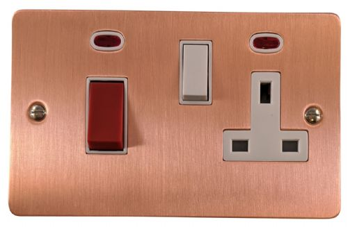 G&H FRG29W Flat Plate Rose Gold 45 Amp DP Cooker Switch & 13A Switched Socket